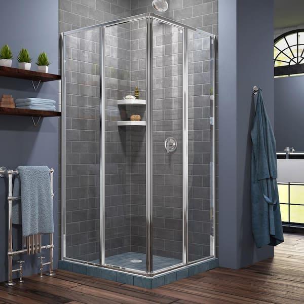 Dreamline Cornerview 34 1 2 In X 72, Corner Shower Glass Doors Home Depot