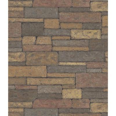 Stone Wall Multi-Color Wallpaper Sample