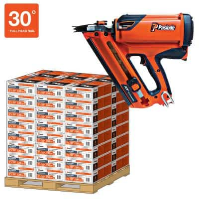 3-1/4 in. x 0.131-Gauge 30-Degree Brite Smooth Paper-Taped Framing Nails Pallet with Cordless XP Nailer