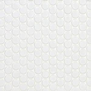 Bliss Penny Round White 12 in. x 12 in. x 10 mm Polished Ceramic Wall Tile