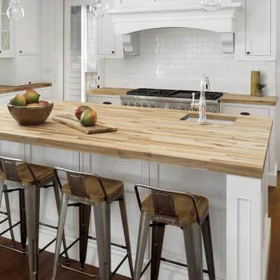 Unfinished Acacia 4.17 ft. L x 26 in. D x 1.5 in. T Butcher Block Countertop