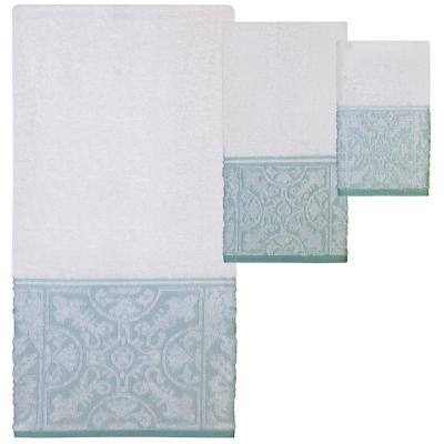 Veneto 3-Piece White/Blue-Green Solid Bath Towel Set