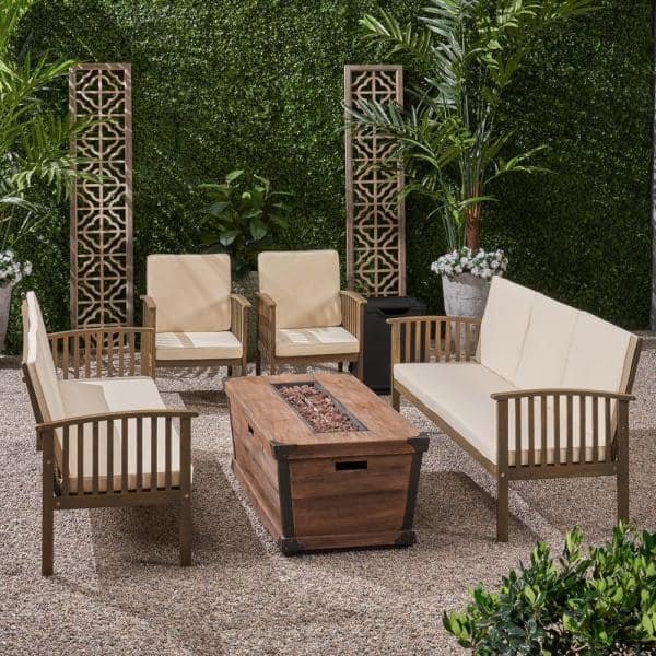 Noble House Carolina Grey 6 Piece Wood Patio Fire Pit Seating Set With Cream Cushions 65851 The Home Depot