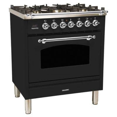 30 in. 3.0 cu. ft. Single Oven Italian Gas Range with True Convection, 5 Burners, LP Gas, Chrome Trim in Glossy Black