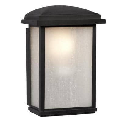 Negron 1-Light Outdoor Black Wall Lantern Sconce