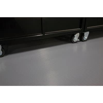 Rib 10 ft. x 24 ft. Slate Grey Vinyl Garage Flooring Cover and Protector