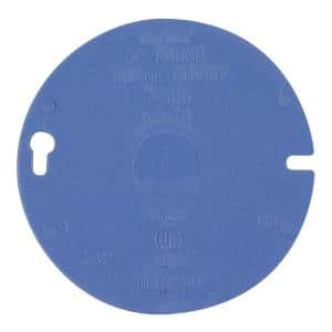4 in. PVC Blue Round Blank Electrical Box Cover