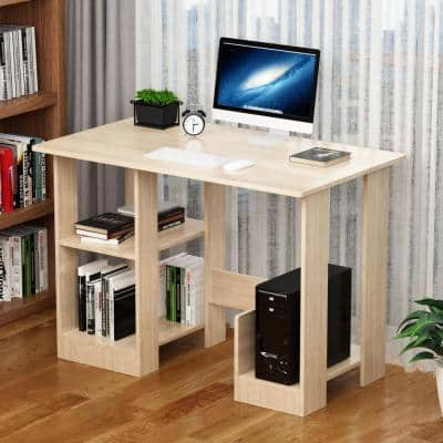 35.4 in. Rectangle Beige Wood Writing Computer Desk with Bookcases, Study Table Workstation With Open Bookshelf