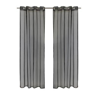 No Se'em 50 in. W x 84 in. L Sheer Grommet Indoor/Outdoor Curtain Panel in Black