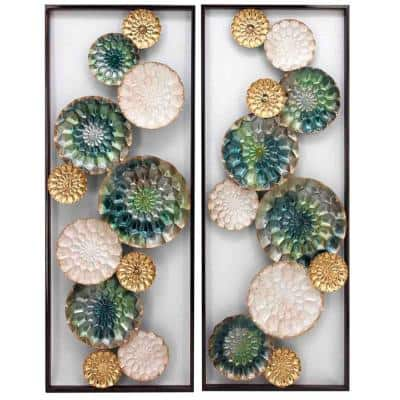 Wreathed Composition II Alternative Transitional Wall Sculptures Panels (Set of 2)