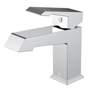 Labaro Brass Single Hole Bathroom Faucet - Chrome