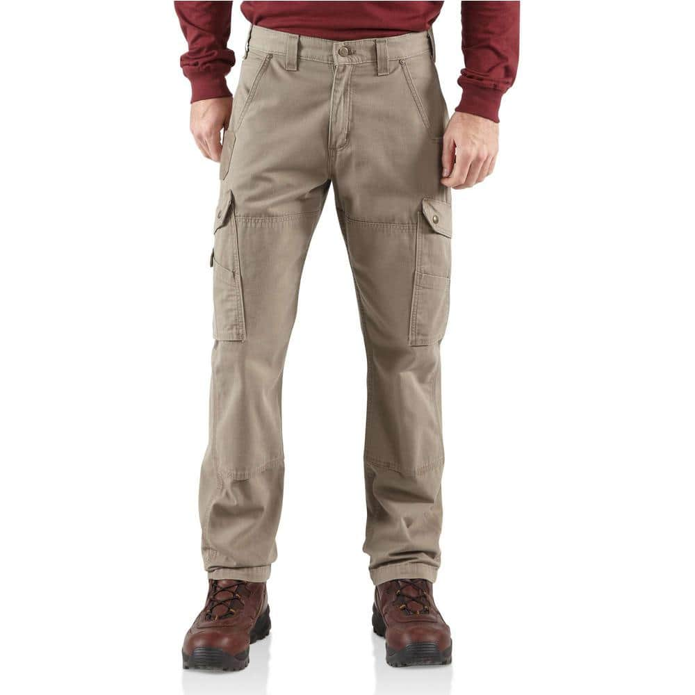 Carhartt Men S 32 In X 34 In Desert Cotton Ripstop Relaxed Fit Work Pant B342 Des The Home Depot