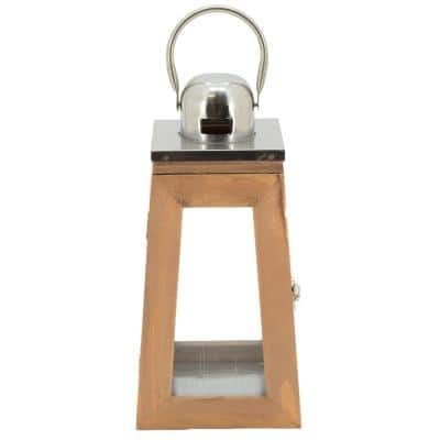 Cowl 6 in. x 14 in. Glass and Wood Lantern Terrarium