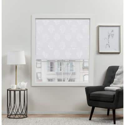Marseilles Damask White Cordless Total Blackout Polyester Roman Shade 23 in. W x 64 in. L