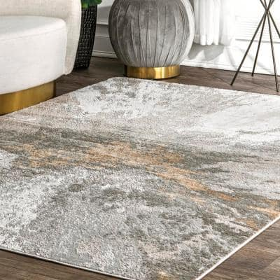 Cyn Modern Abstract Silver 8 ft. x 10 ft. Area Rug
