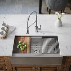 Stainless Steel 32-3/4 in. Single Bowl Farmhouse Apron Kitchen Sink with Additional Accessories
