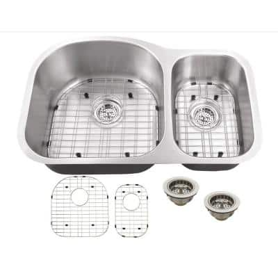 Undermount 18-Gauge Stainless Steel 31-1/2 in. 0-Hole 70/30 Double Bowl Kitchen Sink with Grid Set and Drain Assemblies