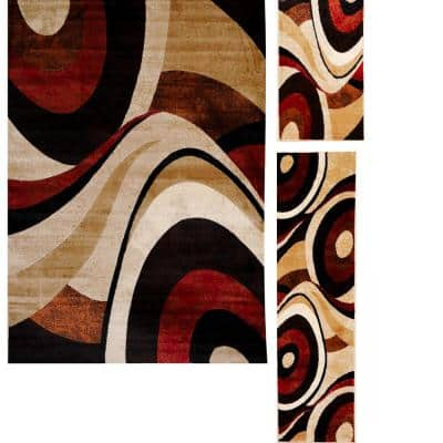 Tribeca Slade Brown/Red Multicolored 5 ft. x 7 ft. 3-Piece Rug Set