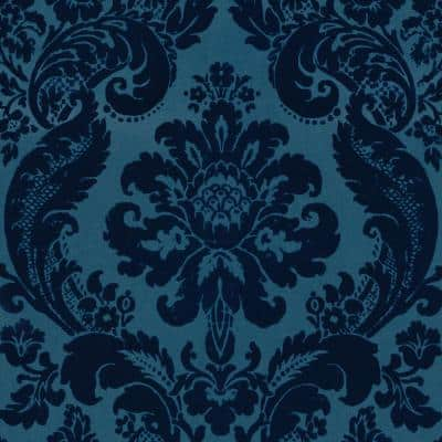 Shadow Blue Damask Paper Strippable Roll Wallpaper (Covers 56.4 sq. ft.)