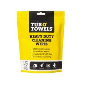 Heavy-Duty Cleaning Wipes, Individually Wrapped, 15-Pack Pouch