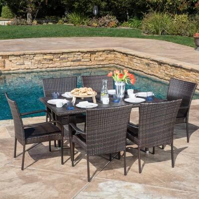 Delani Multi-Brown 7-Piece Wicker Outdoor Dining Set
