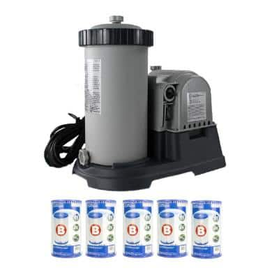 Above Ground Pool 0 sq. ft. Sand Filter Pump and Type B Filter (5-Pack)