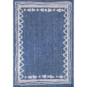 Keaton Casual Bordered Blue 5 ft. x 8 ft. Indoor/Outdoor Area Rug