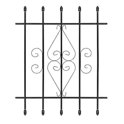 30 in. x 36 in. Su Casa Black 5-Bar Window Guard