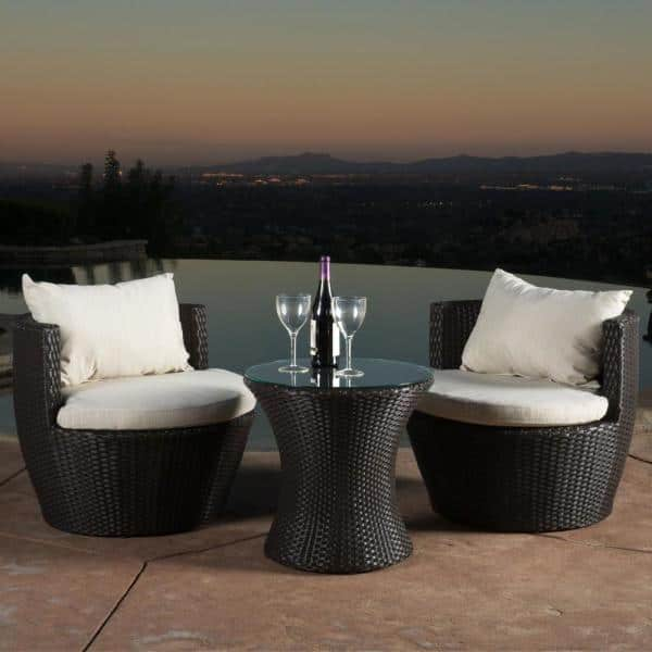 Noble House Kono Brown 3 Piece Wicker Patio Conversation Set With Beige Cushions 7157 The Home Depot