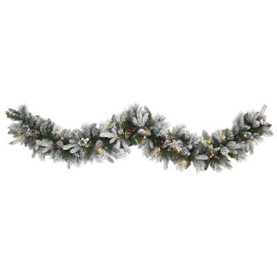 6 ft. Battery Operated Pre-lit Flocked Mixed Pine Artificial Christmas Garland with 50 LED Lights, Pine Cones, Berries