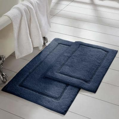 Navy 2-Pack Solid Loop with Non-Slip Backing Bath Mat Set