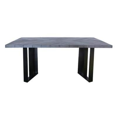 Verona Gray Oak Rectangular Outdoor Textured Light Weight Concrete Dining Table