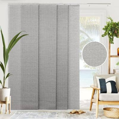Woven Cut-to-Size Gray Light Filtering Adjustable Sliding Panel Track Blind w/ 23 in Slats Up to 86 in. W X 96 in. L