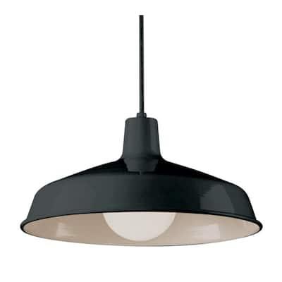 Sherman 1-Light Black Pendant with Metal Shade