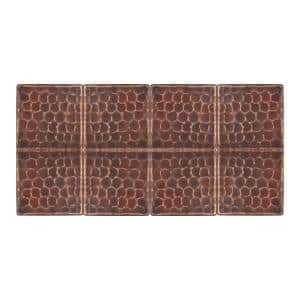 2 in. x 2 in. Hammered Copper Decorative Wall Tile in Oil Rubbed Bronze (8-Pack)