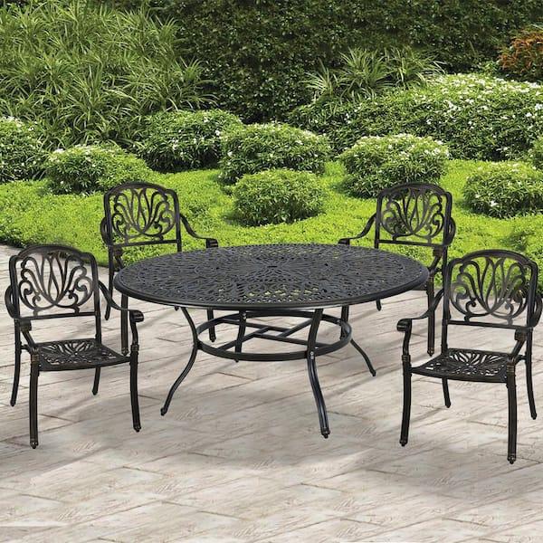 Casainc 5 Piece Aluminum Outdoor Dining, 5 Piece Wicker Patio Dining Set With Umbrella Hole