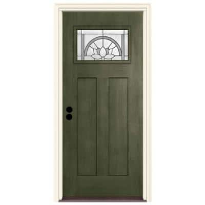 36 in. x 80 in. Juniper Right-Hand 1-Lite Craftsman Ardsley Stained Fiberglass Prehung Front Door with Brickmould