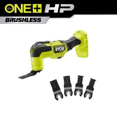 RYOBI ONE+ HP 18-Volt Brushless Cordless Multi-Tool (Tool Only) with 4-Piece Wood and Metal Oscillating Multi-Tool Blade Set
