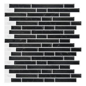 Strip Black 12 in. x 12 in. Vinyl Peel and Stick Tile Backsplash (8.6 sq.ft./10 Sheets)