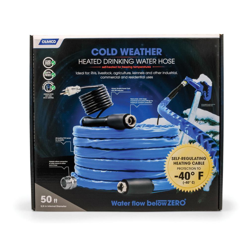 """Heated Drinking Water Hose, -40F/C - 5/8"""" ID x 50' L"""