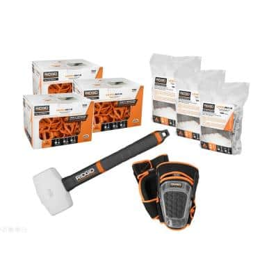 LevelMax Tile Anti-Lippage and Spacing System Top, Flat Stem, Pro Hinge Stabilizing Knee Pad, 16 oz. Rubber Mallet