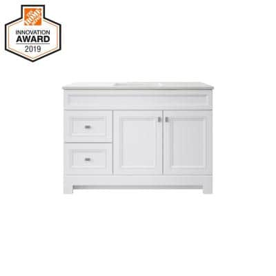 Sedgewood 48-1/2 in. Configurable Bath Vanity in White with Solid Surface Top in Arctic with White Sink