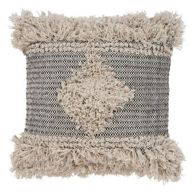Cottage Natural and Black Geometric Hypoallergenic Polyester 20 in. x 20 in. Throw Pillow