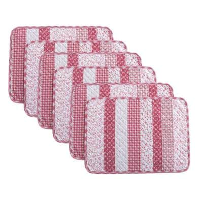 Stripe 19 in. x 13 in. Rose Quilted Microfiber Placemat (Set of 6)