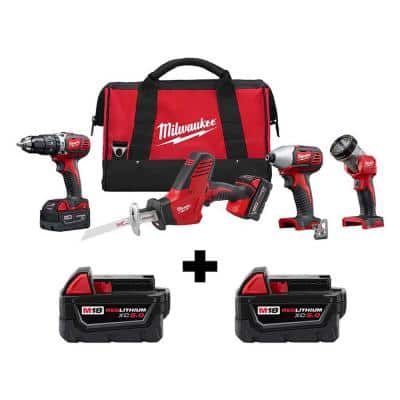 M18 18-Volt Lithium-Ion Cordless Combo Tool Kit (4-Tool) w/ 2 Additional 5.0Ah Batteries
