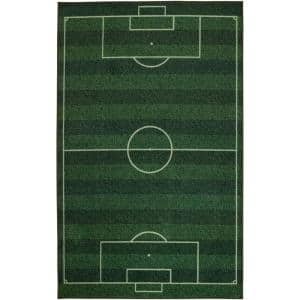 Soccer Field Green 10 ft. x 14 ft. Contemporary Area Rug