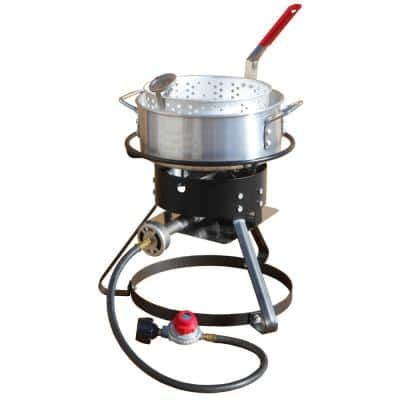 Bolt Together Propane Gas Outdoor Cooker with 10 qt. Aluminum Fry Pan and Basket