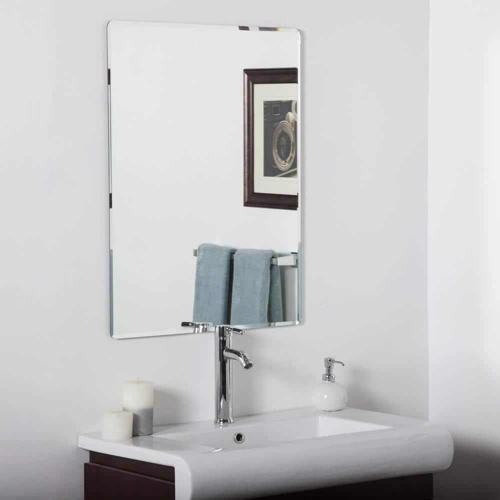 Decor Wonderland 24 In W X 32 In H Frameless Rectangular Beveled Edge Bathroom Vanity Mirror In Silver Dwsm216 The Home Depot