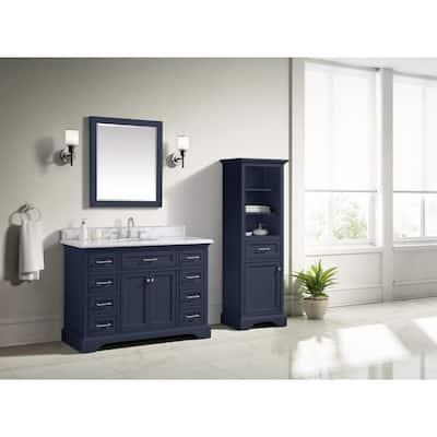 Windlowe 49 in. W x 22 in. D x 35 in. H Bath Vanity in Navy Blue with Carrara Marble Vanity Top in White with White Sink