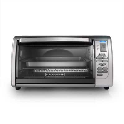 1500 W 6-Slice Stainless Steel Toaster Oven with Broiler